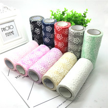 15cm*10Yard White Flower Tulle Rolls Organza Sheer Gauze Lace Fabric DIY Baby Show Wedding Decoration Christmas Gift