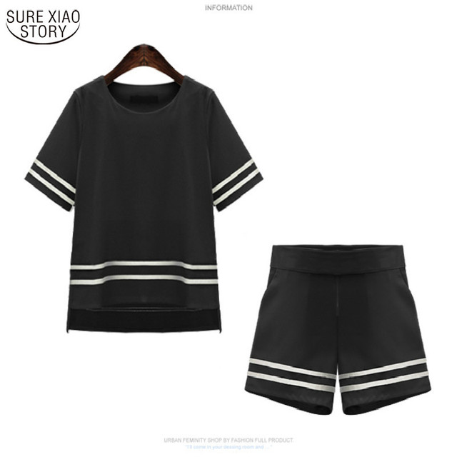 new 2016 fashion women tops plus size in summer female cotton and polyester clothes T-shirt shorts two pieces women suit 186H 25