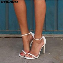 TINGHON Fashioon Vogue 4Color Summer women T-stage Classic Dancing High  Heel Sandals Sexy Stiletto Party wedding shoes 9059f7220d40