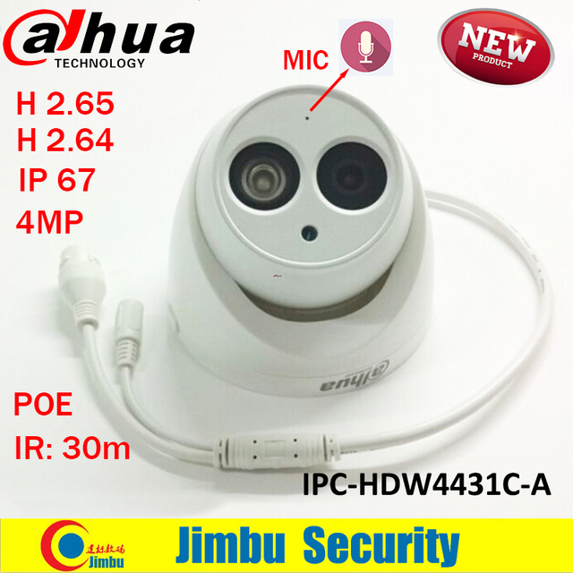 2016 Newest arrival Dahua IPC-HDW4431C-A 4MP Full HD Network IR Mini Camera POE Built-in MIC cctv network dome DH-IPC-HDW4431C-A