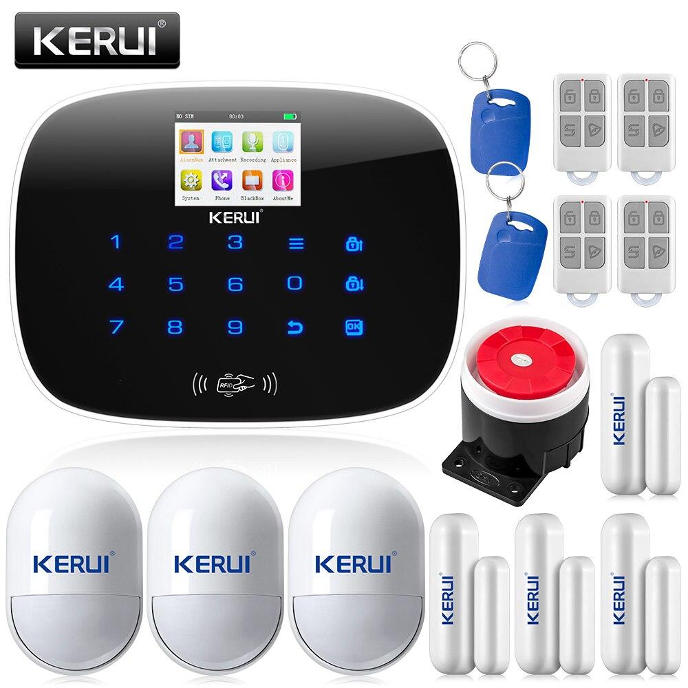 KERUI G19 TFT Grand Écran Affichage GSM Sans Fil Système D'alarme de Sécurité À Domicile avec RFID Tags Commutateur Intelligent de Contrôle