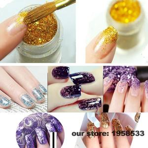 Image 5 - Paillettes en poudre acrylique pour Nail Art, paillettes de couleur Champagne, acrylique, pour Nail Art, décoration artisanale des ongles