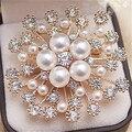 Gold/Silver Plated Big Imitation Pearl Crystal Rhinestone Flower Bouquet Brooch For Wedding Elegant Women Gift Brooch Pins