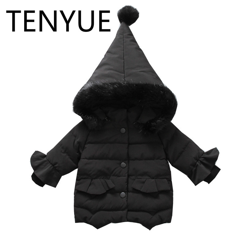 TENYUE, 2018 Clothes, Girls' Cotton Padded Jacket, Children's Winter Hand Warmer, Cotton Wool Collar, Cotton Jacket stand collar 3d stars and striped print zip up padded jacket