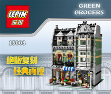2462Pcs Lepin 15008 City Street Creator Green Grocer Model Building Kits figures Blocks Bricks Compatible