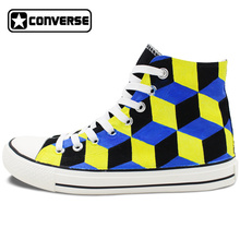 Hand Painted Skateboarding Shoes Men Women Converse All Star Design 3 Dimentional Stereogram High Top Canvas Sneakers