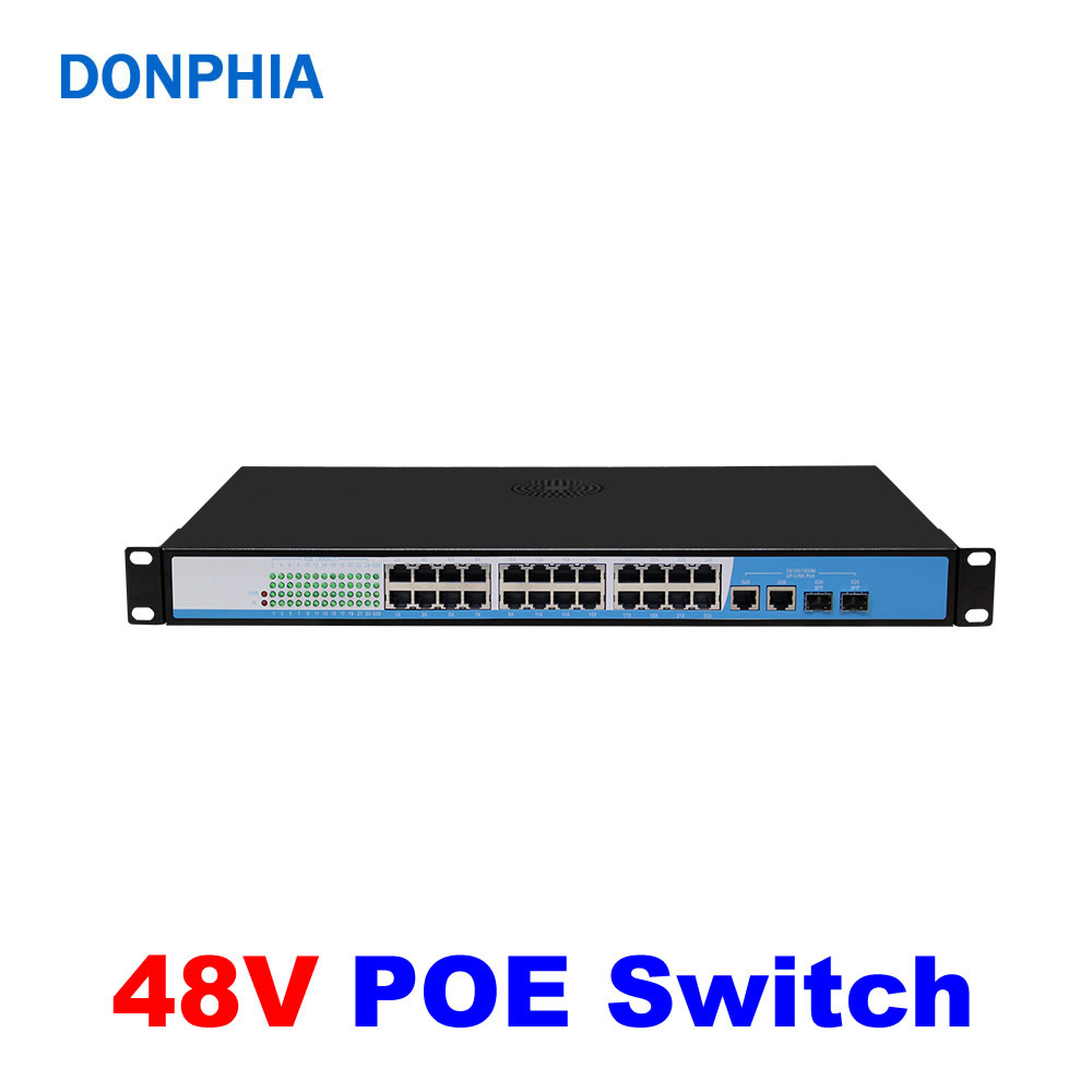 24CH POE Switch 48V 24pcs POE+2pcs LAN 250m 10/100Mbps IEEE802.3af/at Plug Play For IP Camera Surveillance System