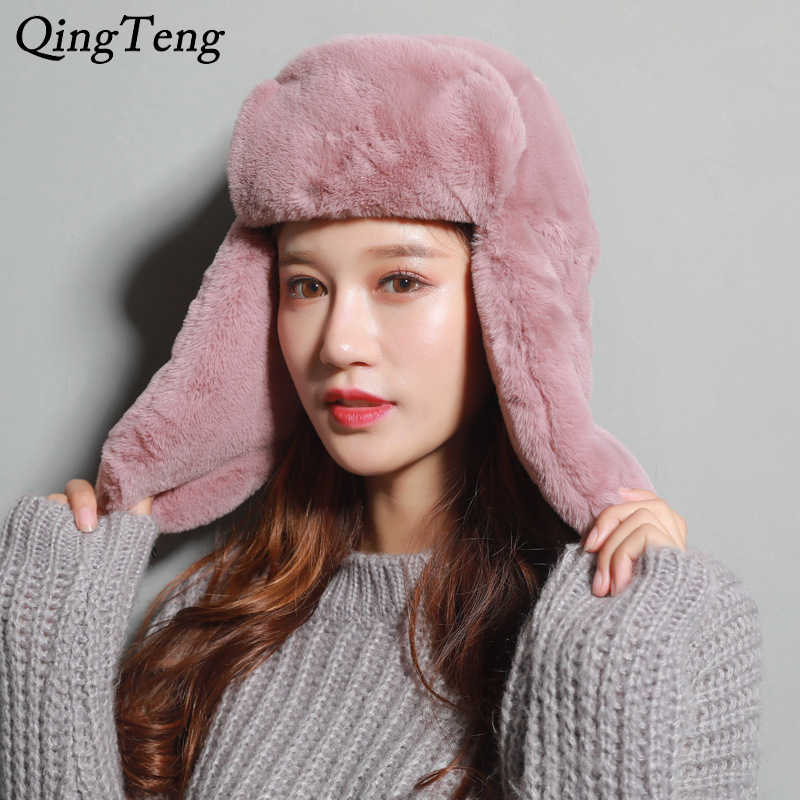 e3a9d2065f9 Winter Women Bomber Hats Men Velvet Warm Thickened Ear Flaps Winter Hats  For Women Russian Bomber
