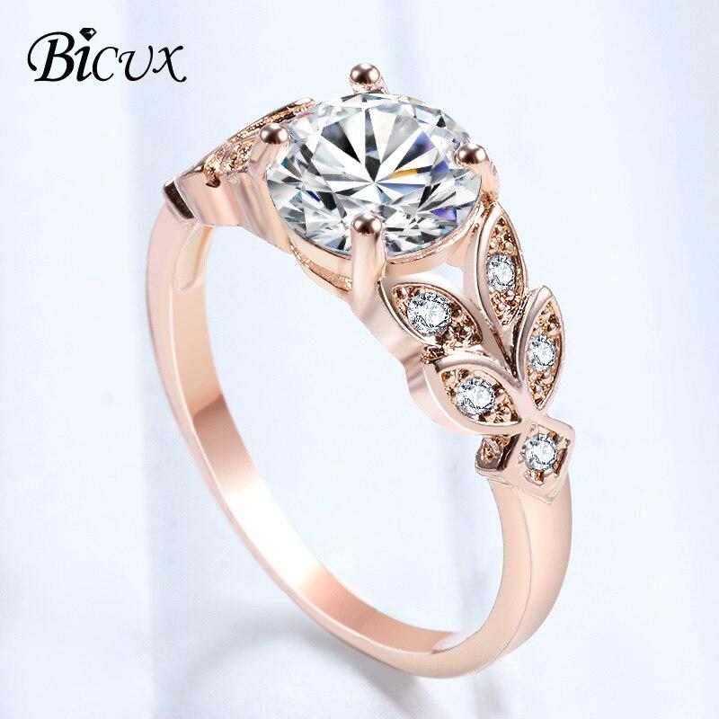 Verlobungsringe Mossovy Engagement Ring Rose Gold Ring Blume Zirkon Mode Schmuck Hochzeit Ringe Für Frauen Welle Ring Bague Femme Anillos Mujer