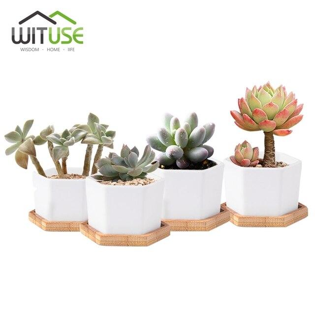 Wituse Wei Hexagon Keramik Blumentpfe Verglaste Mini Bonsai Tpfe  Sukkulenten Pflanzer Blumenvasen Fr Garten Mit Bambus.