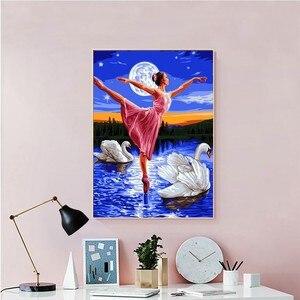 Image 2 - AZQSD pintura al óleo por números DIY, paisaje de cielo para niña para colorear por números, pintura de paisaje, cuadro de lienzo pintado a mano, SZYH A529