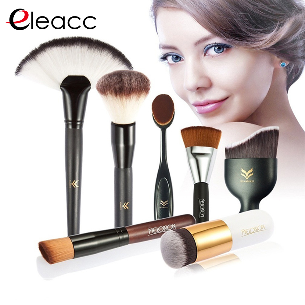 HUAMIANLI brand brush make up brushes oval set hight quality with Synthetic Hair wood cosmetic foundation makeup brushes 7pcs