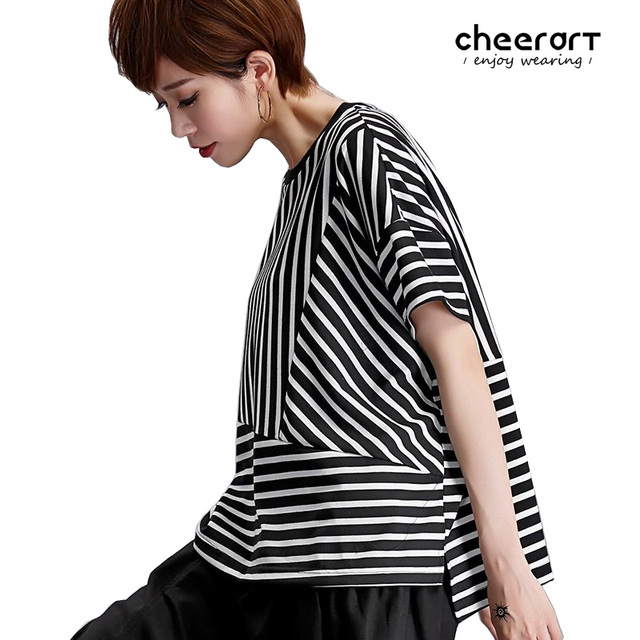 ea3e3bbf8ea42 Cheerart Black And White Striped Summer T Shirt Women Tops Patchwork High  Low Loose Punk Workout Tops 2017 Fashion