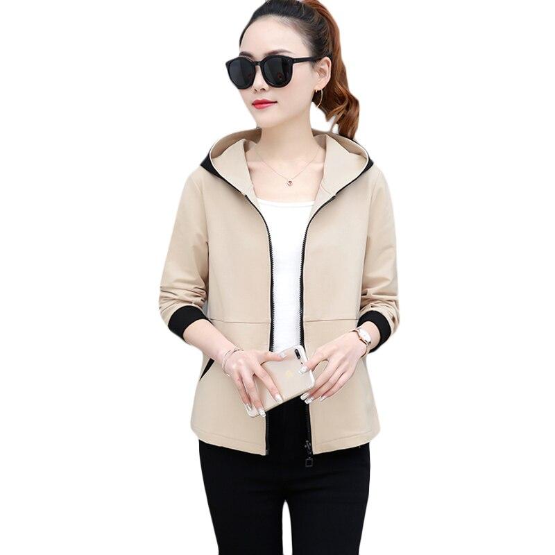 Spring Autumn New Windbreaker coat Fashion Elegant Plus size Slim Casual   Trench   coats Black Long-sleeved Hooded Overcoat a309
