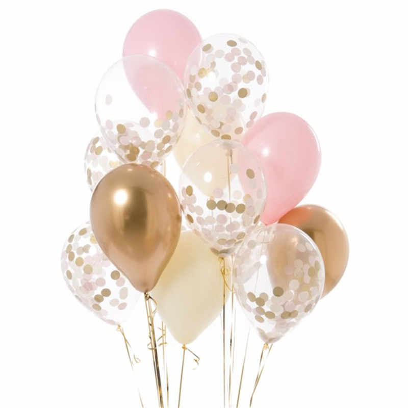 12 stuks 12 inch Goud roze blauw latex Ballonnen zwart wit confetti ballon Birthday Party Wedding Decor Helium Lucht Globos levert