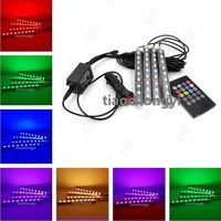 Wireless Remote Music Voice Control Colorful 9 LED Car Interior Light RGB Neon DC12V