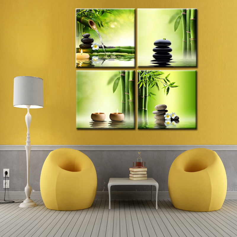 4 panel Zen Canvas Prints Perfect Bamboo Green Pictures on Canvas ...