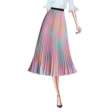 French romantic high-waisted pleated skirt tie-dyed gradient rainbow color printing A word in the long fairy pendulum