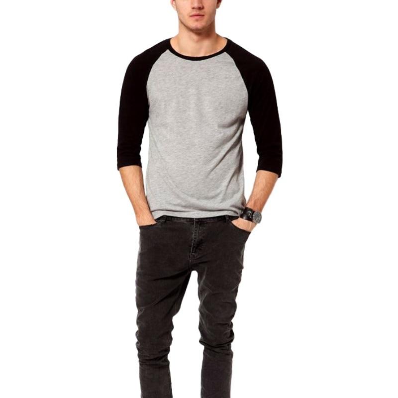 2017 Summer Spring Men O-Neck Cotton T-shirt Men's Casual 3/4 Sleeve T shirt Raglan Jersey Shirt man Tees