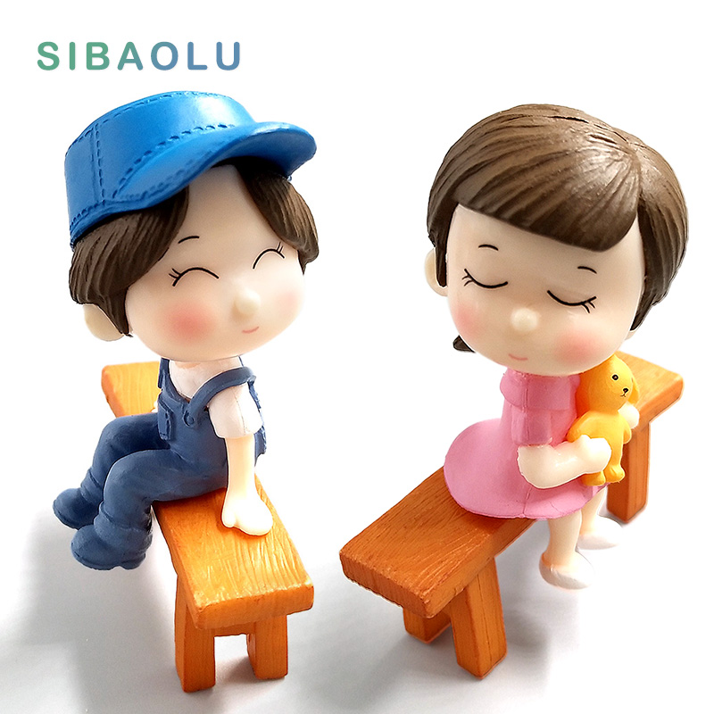 Kawaii Lover Couple Wedding font b Doll b font Figurines Miniatures Fairy Garden Bonsai Resin Crafts