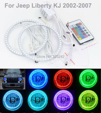 Para Jeep Liberty KJ 2002 2003 2004 Excelente kit Multi-Color RGB LED Angel Eyes angel eyes de Halo Ultrabright anillos
