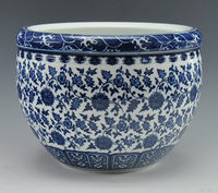 Big Chinese antique qing qianlong mark blue and white porcelain ceramic fish bowl flower pot