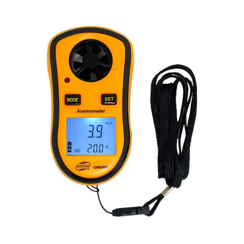 GM8908 Portable Digital Wind Speed Temperature Gauge Anemometer with LCD Display Test Lead Accessory Digital Anemometer LCD Anemometer