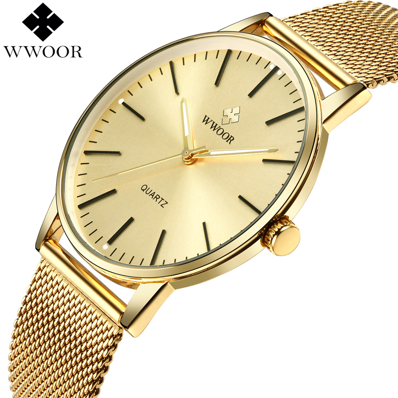 WWOOR Top Brand Luxury Men Waterproof Ultra Thin Gold Watches Men's Quartz Stainless Steel Sports Wrist Watch Male Analog Clock luxury brand watches men quartz clock wach ultra thin stainless steel mesh strap gold wristwatch box waterproof sport watch men