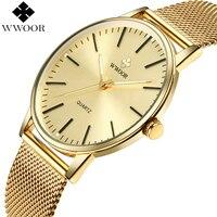 WWOOR Top Marke Luxus Männer Wasserdichte Ultra Dünne Gold Uhren herren Quarz Edelstahl Sport Armbanduhr Männer Analog uhr