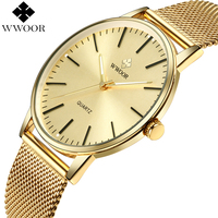 WWOOR Top Brand Luxury Men Waterproof Ultra Thin Gold Watches Men S Quartz Stainless Steel Sports