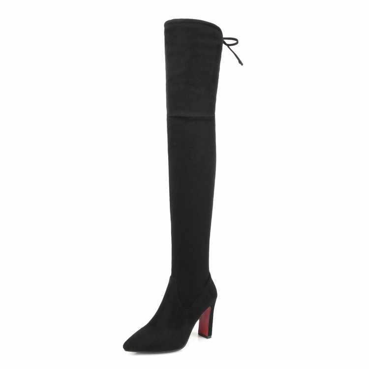 MLJUESE 2018 kadın diz üzerinde Akın yüksek çizmeler sonbahar kış dantel Riband gri renk başak topuklu yüksek çizmeler boyutu 32-43