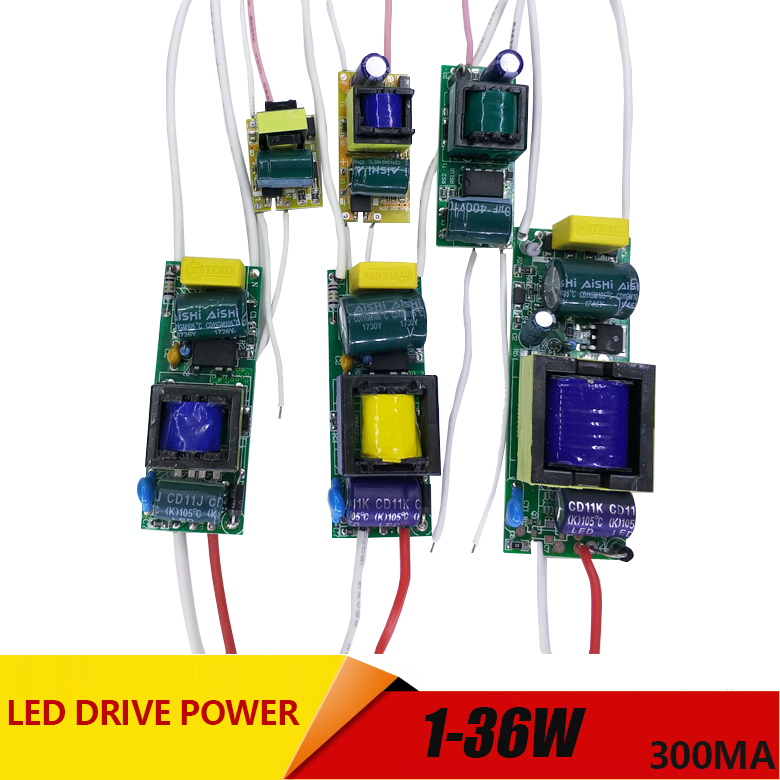 1-3W,4-7W,8-12W,15-18W,20-24W,25-36W LED driver power supply built-in constant current Lighting AC110-265V Output 300mA DC phiscale 2 3w led driver power supply waterproof ip67 constant current ac100 260v 300ma for 2 3w led bulb