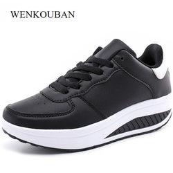 31818aec96 Tênis de plataforma Mulheres Sapatos Casuais Primavera Branco Sapatilhas  Sapatilhas Mulheres Cunhas Shoes Tenis Feminino Lace