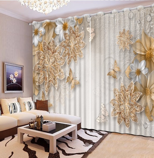 Living Room Flowers Beautiful Contemporary Rooms European Style Customize 3d Curtains For Stereoscopic Bedroom