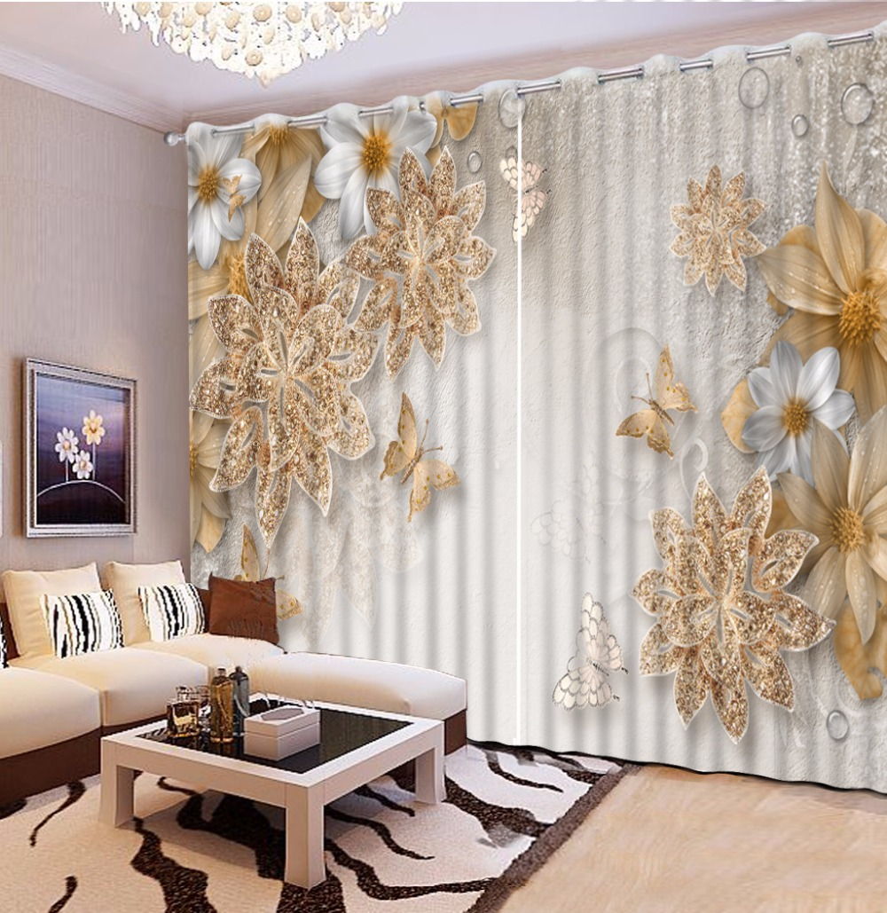 European Style Customize 3d Curtains For Living Room Flowers Stereoscopic Bedroom