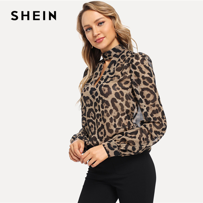 e264fabd13 SHEIN Multicolor Office Lady Choker Neck Leopard Print Cut Out Long Sleeve  Blouse Autumn Workwear Fashion Women Tops And Blouses-in Blouses & Shirts  from ...