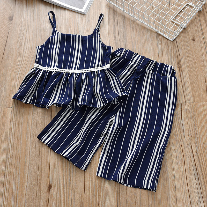 2019 Children's Clothing Set Toddler Girl Summer Clothes Kids Girls Boutique Outfits Striped Camisole T-shirt + Capri Pants(China)