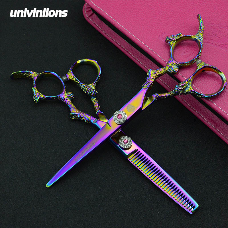 5.5/6'' univinlions pink razor cut hairdressing scissors professional hair scissors barber shop supplies thinning rainbow shears