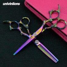 Univin 6.0 Hair Cutting Scissor Barber With Bag Cloth Comb Clip Screwtool, Professional Hairdresser