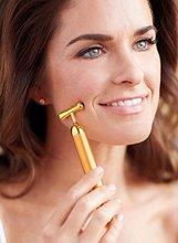 Face Massager Premium Gold Beauty Bar 24k Facial Roller Skin Tightening, V-Face Wrinkle Treatment Energy Beauty Bar 24k gold vibration facial slimming face beauty firming facial roller massager lift skin tightening wrinkle bar