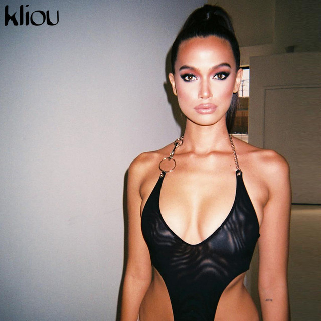 Kliou women sexy mesh material halter bodysuit 2019 new arrival solid skinny sexy party club female see-through rompers jumpsuit