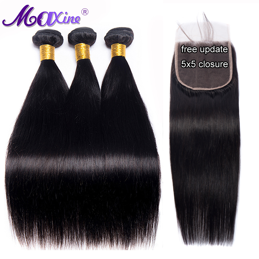 Straight Hair Bundles With 5x5 Lace Closure Peruvian Hair 3 Bundles With Closure Remy Human Hair