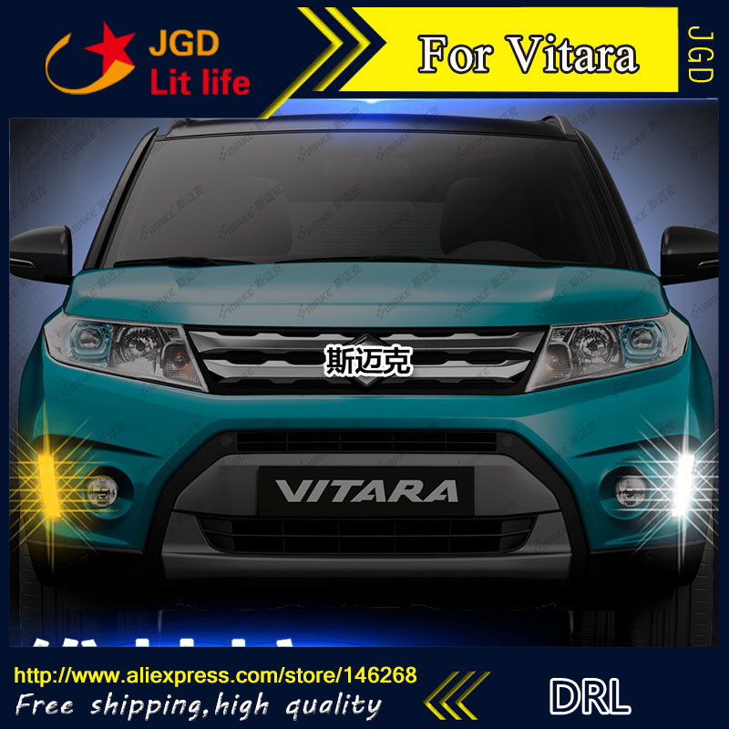Free shipping ! 12V 6000k LED DRL Daytime running light for Suzuki Vitara fog lamp frame Fog light Car styling for suzuki vitara escudo 4th 2015 2016 car drl 12v led daytime running light turn lights fog light waterproof auto lamp styling