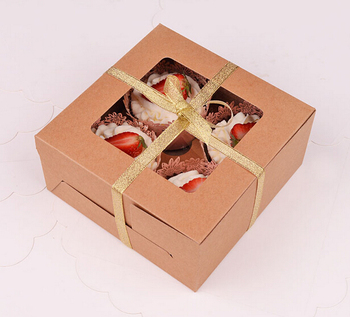 Free Shipping 30PCS/LOT Kraft Color No Printing 4PCS Cup Cake Box/ Cookies Box Include Insert
