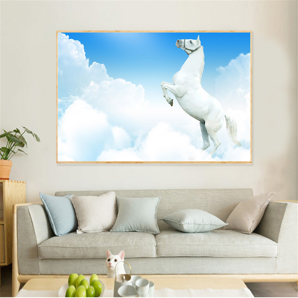 Abstract Paintings Large Size Snow Horses Racing Canvas