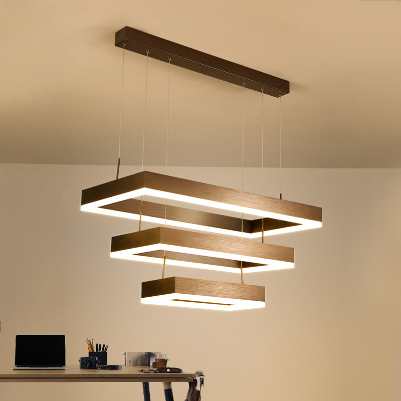 Us 138 75 25 Off Modern Brown Square Pendant Light Rectangle 3 Lights Led Lamp Hanging For Living Room Dining In