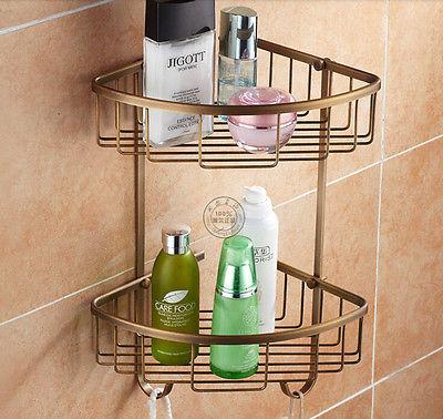 Wall Mount Bathroom Kitchen Corner Shlef Antique Brass Cosmetic Holder Storage Basket