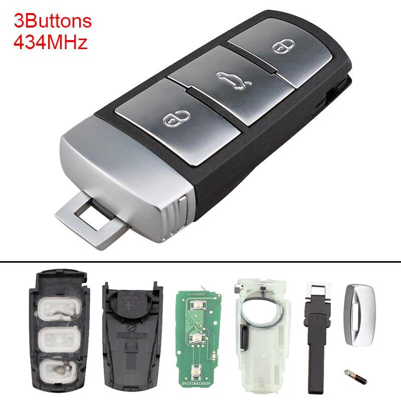 Sans clé Uncut Flip 3 Boutons Smart Clé De Voiture À Distance Fob Shell Cas avec ID48 Puce 3C0959752BA pour VW Passat B6 3C B7 Magotan CC