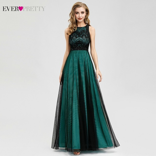 Elegant Dark Green Evening Dresses Long Ever Pretty EZ07965 A-Line Contrast Color Embroidery Lace Formal Dresses Robe De Soiree 2