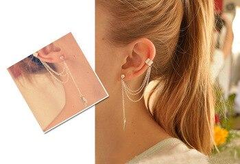 1pcs Earrings Jewelry Fashion Personality Metal Ear Clip Leaf Tassel Earrings For Women Gift Pendientes Ear Cuff Caught In Cuffs 2